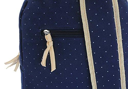 G2Plus Leichte Schulrucksack mit Polka Dots Nette Canvas Schultaschen Damen Mädchen EXTRA Groß Kinderrucksack Daypacks Rucksäcke Modische mit Laptop Fach 28 * 42 * 13 cm – Little Princess (Blau 1) - 4