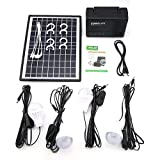 Mountxin Kit Sistema Home Caricabatteria USB 12V LED Light Storage Generator con Pannello Solare - Nero