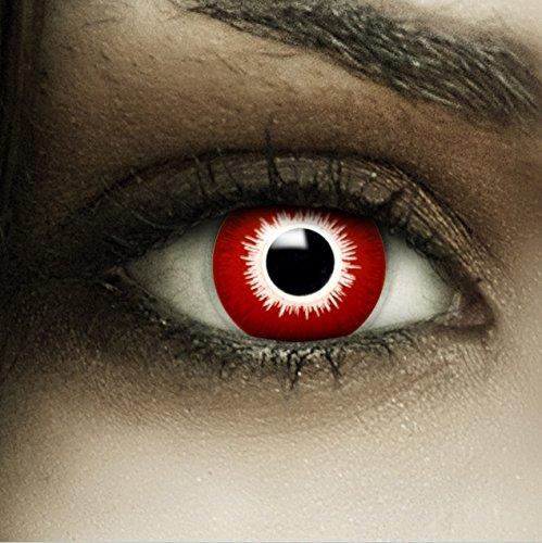 """Farbige rote Kontaktlinsen """"Bloody"""" + Kunstblut Kapseln + Behälter von FXCONTACTS®, weich, ohne Stärke als 2er Pack - perfekt zu Halloween, Karneval, Fasching oder Fasnacht"""