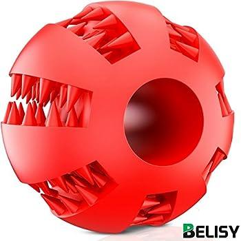 BELISY Balle a Macher Chien ? Jouet Dressage Chien - Balle Friandise Chien - Ballon pour Grands et Petits Chiens - Convient pour Chiots - Fabriqué en Caoutchouc Naturel & Atoxique - Rouge