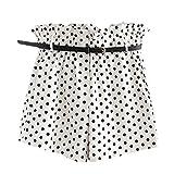 UFACE Damen Wave Point Pocket Belt Shorts Drucken Casual Fit Elastische Taille Tasche Shorts Hosen mit Gürtel (S/(36), Weiß)