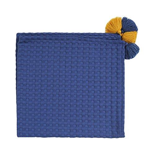 MoMika Belle Couverture en coton-Wafer bébé | avec Glands Mignon | Cuddle & Play Couverture | 70 x70 cm | Beaucoup de couleurs (Navy-Blue)