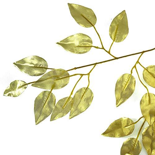 Romote 12 PC-Simulation Ficus-Blatt-Niederlassungs Künstliche Pflanzen gefälschte Pflanzen für DIY Fotografie Props Ornament Gartendeko