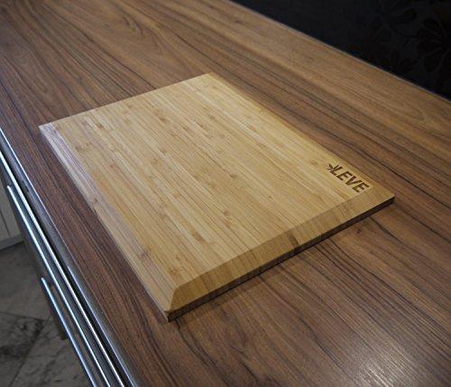 Hochwertiges Bambus Holz Schneidebrett 39 x 29 cm Groß von LEVE mit abgeflachten Kanten - 4