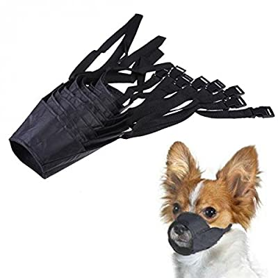 Doggie Style Store Black Soft Nylon Dog Puppy Pet Muzzle Bark Mouth Anti Bite Adjustable Comfortable Snout Mask by Doggie Style Store