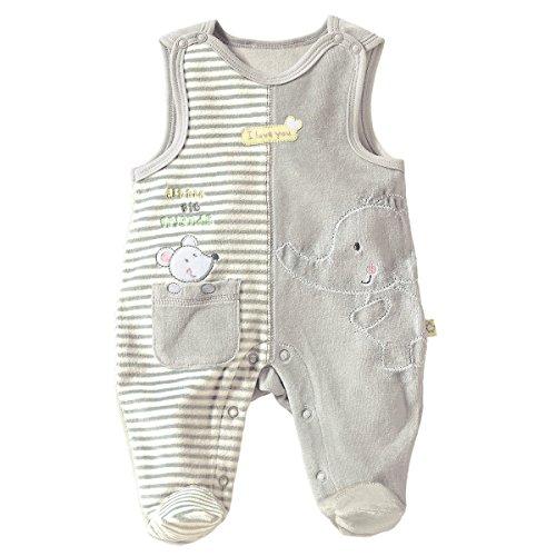 Bornino Bornino Strampler Elefant & Maus - kuschelweiche Babykleidung aus Nickistoff - mit Füßen und Druckknöpfen an Schultern & Schritt - grau/gelb