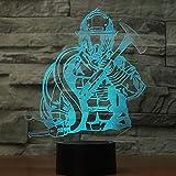 Lumière De Nuit 3D Led Changement De Couleur Lampe Audacieux Pompier Lumière 7 Changement De Couleur Illusion Chambre Décoration Enfants Cadeau D'Anniversaire...