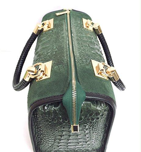 SUPERFLYBAGS Borsa Bauletto In Vera Pelle Camoscio stampa Coccodrillo Modello Isa Croco Made In Italy verde