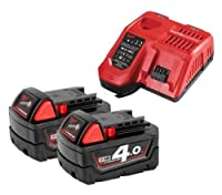 Milwaukee M18NRG-402 18V Energy Pack - 2 x M18B4 4.0Ah Battery & M12-18FC Charger