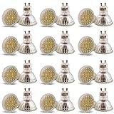 12er Pack Lu-Mi® LED GU10 54x3528SMD 3W Glass Leuchtmittel Lampe Warmweiß (3000K) | ersetzt 30W Halogen | 200 Lumen | 120°