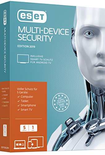ESET Multi-Device Security 2019 | 5 User | 1 Jahr Virenschutz | Windows (10, 8, 7 und Vista), macOS, Linux und Android | Standardverpackung