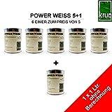 5 x1 Ltr. Power Weiss + 1 Ltr. ohne Berechnung
