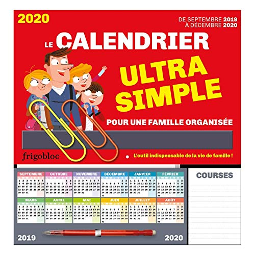 FrigoBloc Le calendrier ultra simple pour une famille organisée ! De Sept 2019 à Déc 2020