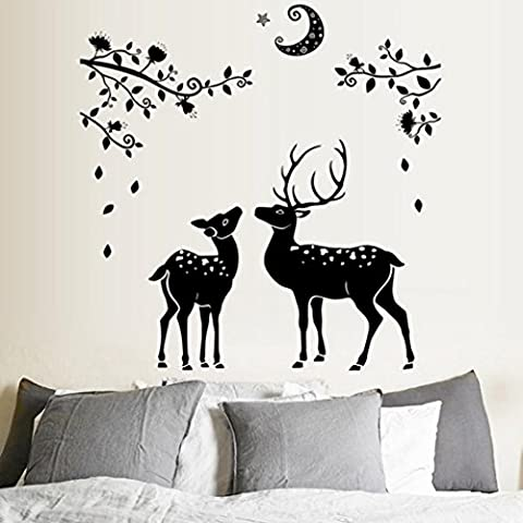 Kingko® Moonless Deer Silhouettes Christmas Decoration Decal Window Stickers Home Decor