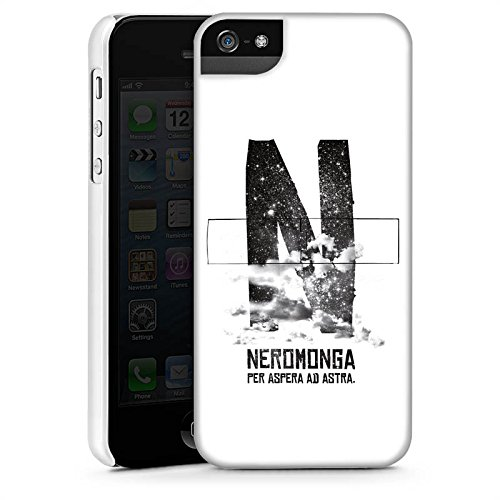 Apple iPhone 5s Housse Étui Protection Coque Nuages Noir Blanc CasStandup blanc