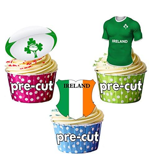 Irland Rugby Team Shirt, Ball und Flagge Mix–12Essbare Cup Cake Wafer Stück, vorgestanzt