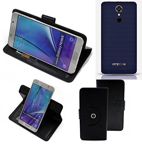 K-S-Trade® Hülle Schutzhülle Case für Emporia SMART.2 Handyhülle Flipcase Smartphone Cover Handy Schutz Tasche Bookstyle Walletcase schwarz (1x)