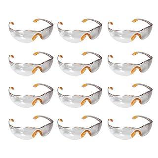Schutzbrille - 12 Packung Klare Schutzbrillen Zum Schutz der Augen mit Klaren Kunststoff-Linsen, Gumminase und Ohrbügelhaken/Ohrhaken für Festen Sitz an den Ohren, Schutzbrille Baustelle - Schutzbrille Kinder