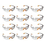 12 klare Schutzbrillen zum Schutz der Augen mit klaren Kunststoff-Linsen, Gumminase und Ohrbügelhaken/Ohrhaken für festen Sitz an den Ohren, mit einer bequemen Passform von Kurtzy - 12er Packung ? Schutzbrille Sicherheitsbrille