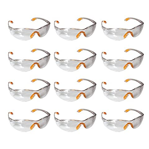 12 Piece Pack of Clear Safety Goggles by Kurtzy - Protective Glasses Eyewear Eyeglasses for Eye Protection with Clear Plastic Lenses and Featuring Rubber Nose And Ear Grips for a Comfortable