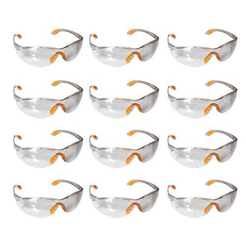 Gafas de Seguridad Transparentes, Gafas Proteccion - Pack 12 Gafas Protectoras Ojos con Lentes Plástico Transparente y Plaquetas Nasales y Fundas de Patillas de Goma para un Ajuste Cómodo