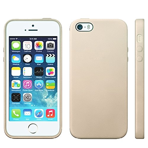 Wkae Case & Cover conception officielle tpu avec garniture en cuir cas pour iphone 5 &5 &se ( Color : Beige )
