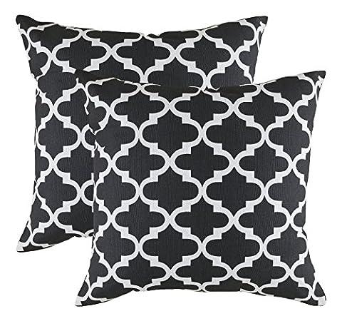 TreeWool®, (2er Pack) Trellis Design Baumwolle Dekoratives Kissenbezüg (50 x 50 cm, Schwarz & Weiß)