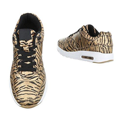 Damen Schuhe Freizeitschuhe Sneakers Turnschuhe Weiss Schwarz Gold