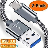 USB C Kabel auf USB 3.0 Snowkids [2 Stück] 2m USB Type C Ladekabel,Nylon Type C kabel für Samsung Galaxy S9 S8 Plus,Note8 9 A5 A3 2017, LG G5 G6, Huawei P9 P10, Sony Xperia XZ Xa1, HTC 10/U11(Grau)