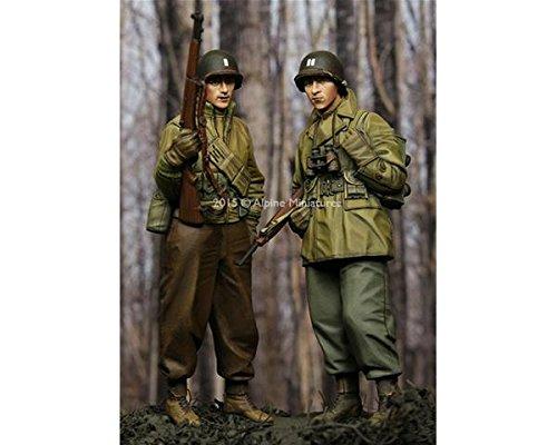 Alpine miniatures 1/35; set di fanteria usa, wwii (2 figurini)