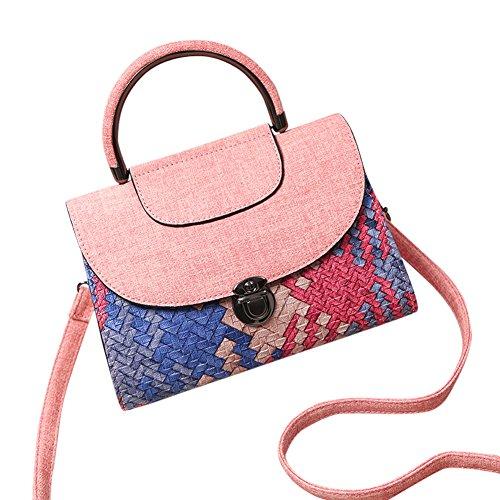 WTUS Damen Neue Frauen Sackt Art und Weise Persönlichkeit Weave Bannfarbe Kleines Quadratisches Paket Mobile Messenger Handtaschen Schultertasche Beuteltote Pink
