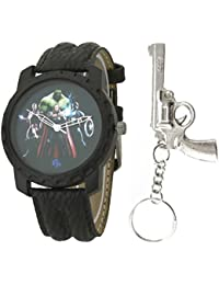 LMP3 Marvel Avengers Multicolor Dial Black Leather Strap Analog Wrist Watch With Keychain For Kids And Boys (AW01351)