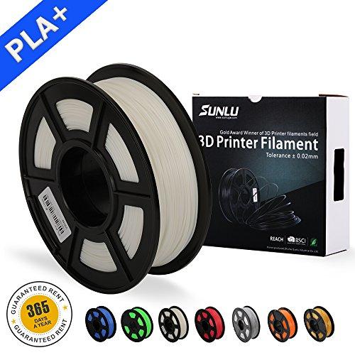 SUNLU 3D Drucker Filament PLA Plus Weiß (mehr wie Ivory), PLA Plus Filament 1,75 mm, geringer Geruch Dimensionsgenauigkeit +/- 0,02 mm 3D Druck Filament, 2,2 LBS (1kg) Spule 3D Drucker Filament für 3D Drucker & 3D Stifte, weiß (mehr wie Ivory)
