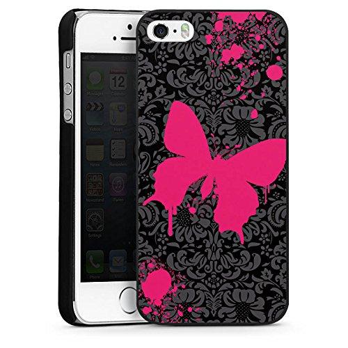 Apple iPhone 5 Housse Étui Silicone Coque Protection Papillon Papillon Rose vif CasDur noir