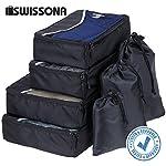 SWISSONA 7 Stück Premium Packwürfel, robust & langlebig, in schwarz | mit 2 Jahren Zufriedenheitsgarantie | Verpackungswürfel, Packtaschen, Kleidertasche, Koffer-Organizer, Aufbewahrungstasche