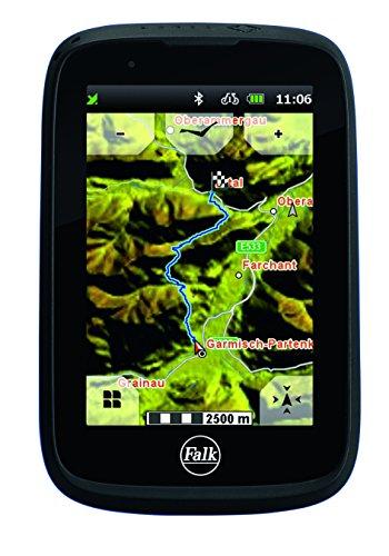 """Falk Fahrrad GPS Navigationsgerät TIGER BLU, 3,5"""" kapazitives Display, Premium-Karte Deutschland, 31 Europäische Länder, Bluetooth, Trackaufzeichnung, Rundkursfunktion, Fahrradhalterung, schwarz/rot"""