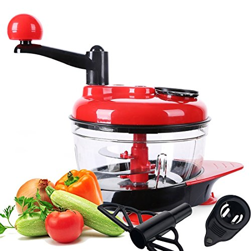51GSHilvhCL. SS500  - 2.0L Manual Food Chopper, Fisstina Multi Hand-Powered Vegetable Fruit Shredder/Mincer/Blender with 3 Food Slicer Dicer,Onion Chopper Food Processor for Celery Garlic, Red