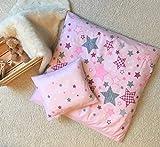 STERNE Baby Bettwäsche Set für Wiege / Kinderwagen / Stubenwagen  STARS · 2 teilig · Kissenbezug 35x40 + Bettbezug 80x80 cm · zartrosa
