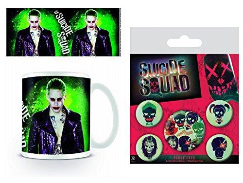 Set: Suicide Squad, Il Joker Tazza Da Caffè Mug (9x8 cm) E 1 Suicide Squad, Set Di Badge (15x10 cm)