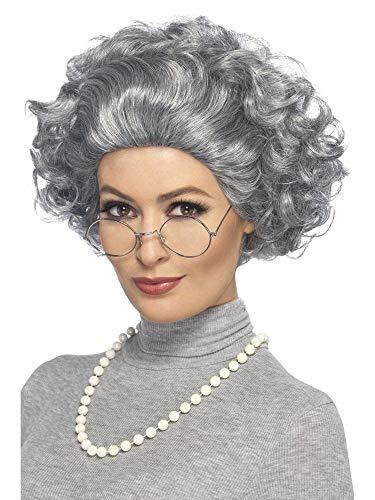 shoperama Set graue Oma Perücke Perlenkette Nickel-Brille Greisin Alte Dame Großmutter Omi Haare Locken (Strenge Lehrerin Kostüm)