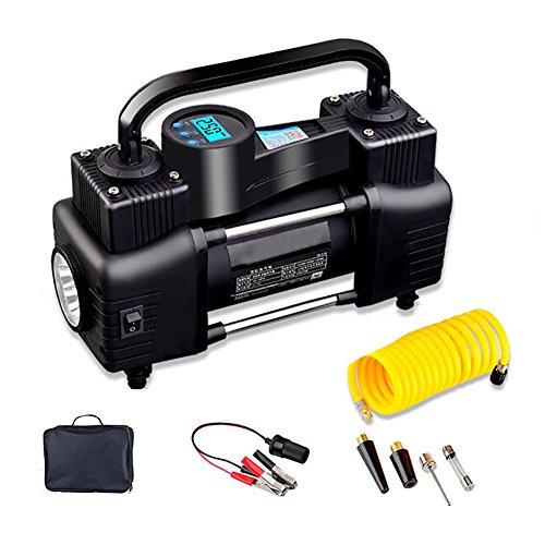 YLG Luftkompressor,Digitaler Auto Kompressor 12V, Reifen Aufblasgerät Und Tragbare Auto Reifenpumpe,LCD Digital-Anzeige Und 3M Kabel,Zwei Verbindungsmethoden