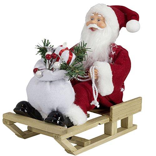 JEMIDI Weihnachtsmann mit Schlitten 30cm - Nikolaus Figur Holz Weihnachts Santa (Santa Clause Klassisch 30cm)
