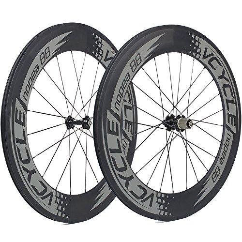 VCYCLE Nopea 700C Carbon Rennrad Laufradsatz 88mm Tubular 23mm Breite Basalt Bremsen Oberfläche Shimano oder Sram 8/9/10/11 Speed -