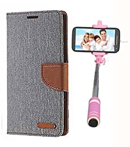 Aart Fancy Wallet Dairy Jeans Flip Case Cover for Nokia620 (Grey) + Mini Fashionable Selfie Stick Compatible for all Mobiles Phones By Aart Store