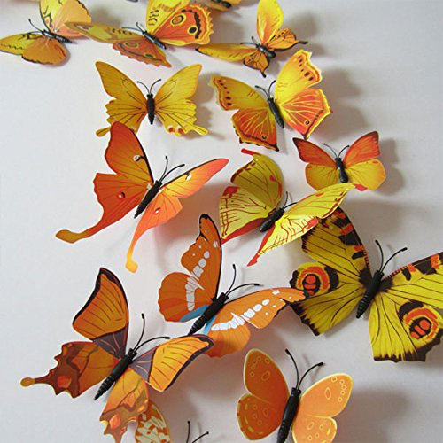 12pcs 3D Art Butterfly Decal Wall Sticker Home Decor Room Decoration (Yellow)