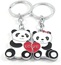 Key Era Magnetic Kung Fu Panda Couple with Love Heart Premium Quality Metal Keychain (Black/White/Red)