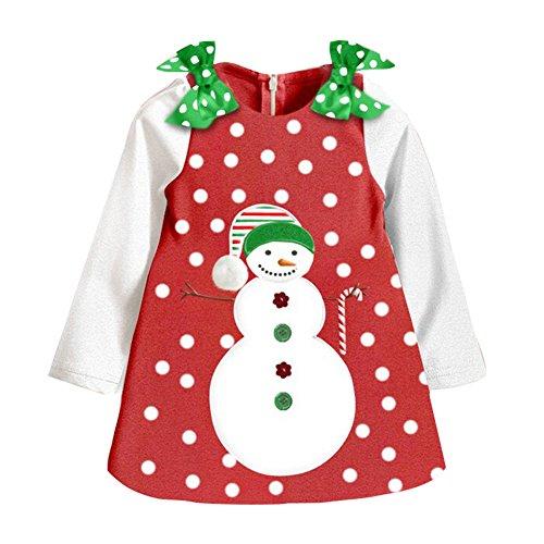 2017 Kinder Mädchen Langarm - Mädchen Röcke Kleider Punkt Schneemann Herbst Weiße Ärmel 4 Jahre (Schneemann Kinder Kleid)