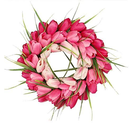VNEIRW Türkranz Ganzjährig, Künstlicher Tulpe Farbverlauf Deko Kranz, Wandkranz Handgefertigt Kranz, Dekorative Blumenkranz, Wanddeko für Hochzeit - ca.30 cm ø (Rosa)