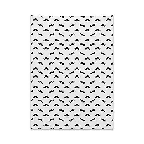 ABAKUHAUS Herren Wandteppich, Hipster Gesichtsbehaarung Design aus Weiches Mikrofaser Stoff Kein Verblassen Klare Farben Waschbar, 110 x 150 cm, Weiß und Schwarz