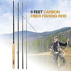 Explopur Mouche Canne A Peche Fibre De Carbone Detachable - 9 Pieds 2.7M 4 Sections Pole Pole Fishing Tackle